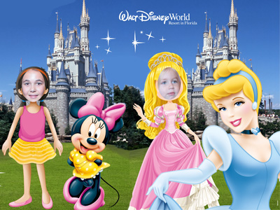 Disney Virtual face cutout props at Disney